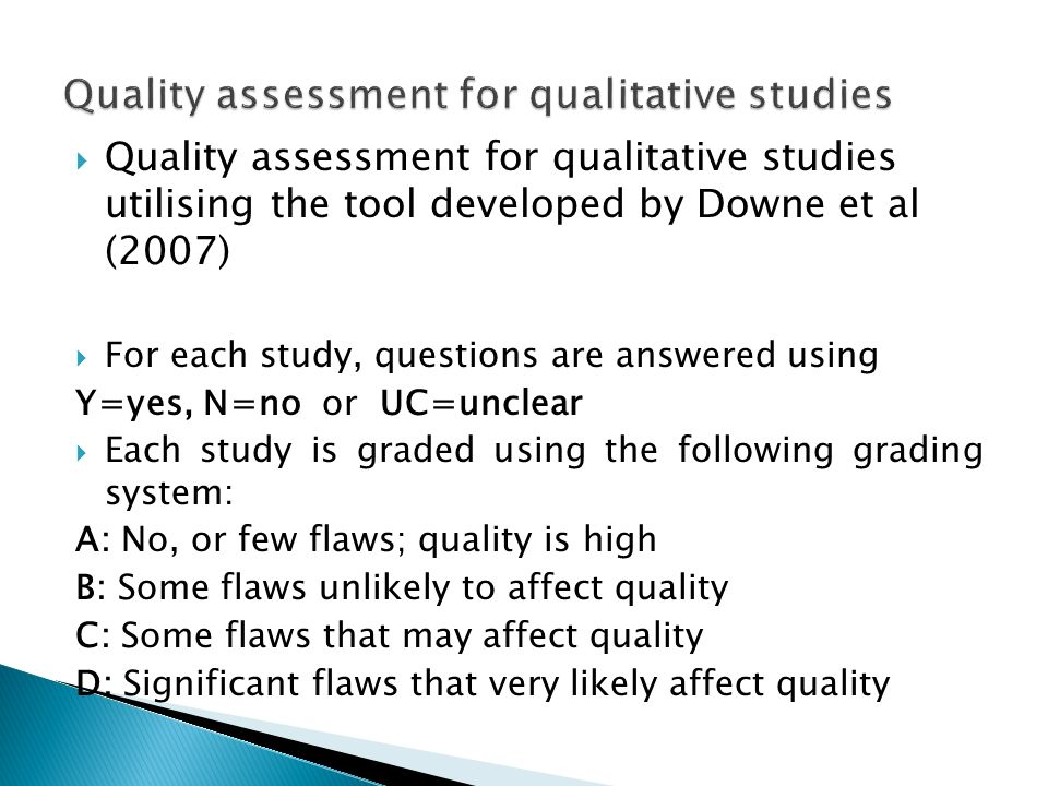 Quality assessment for qualitative studies