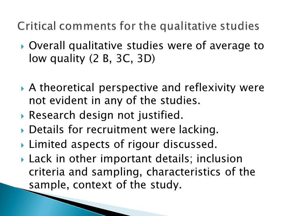 Critical comments for the qualitative studies
