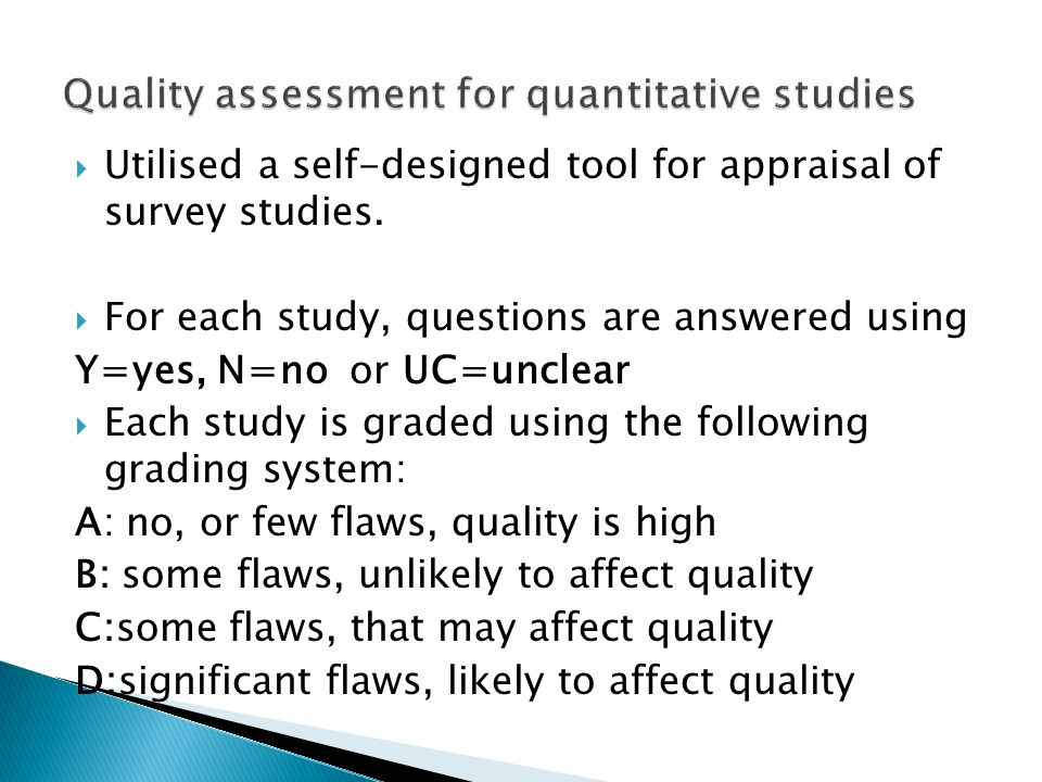 Quality assessment for quantitative studies