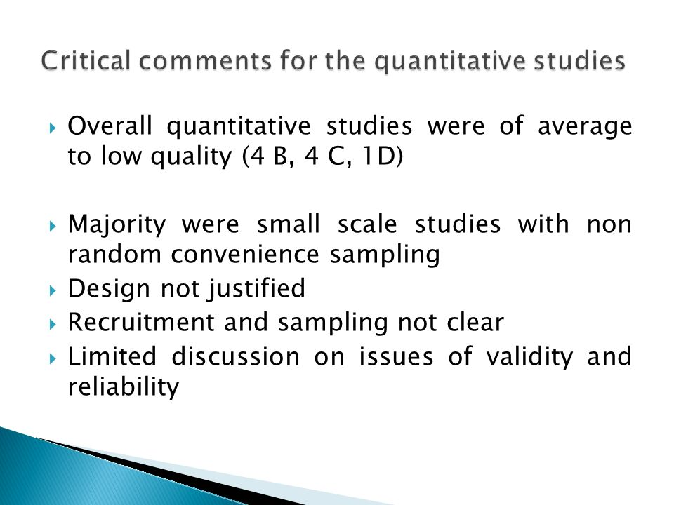 Critical comments for the quantitative studies