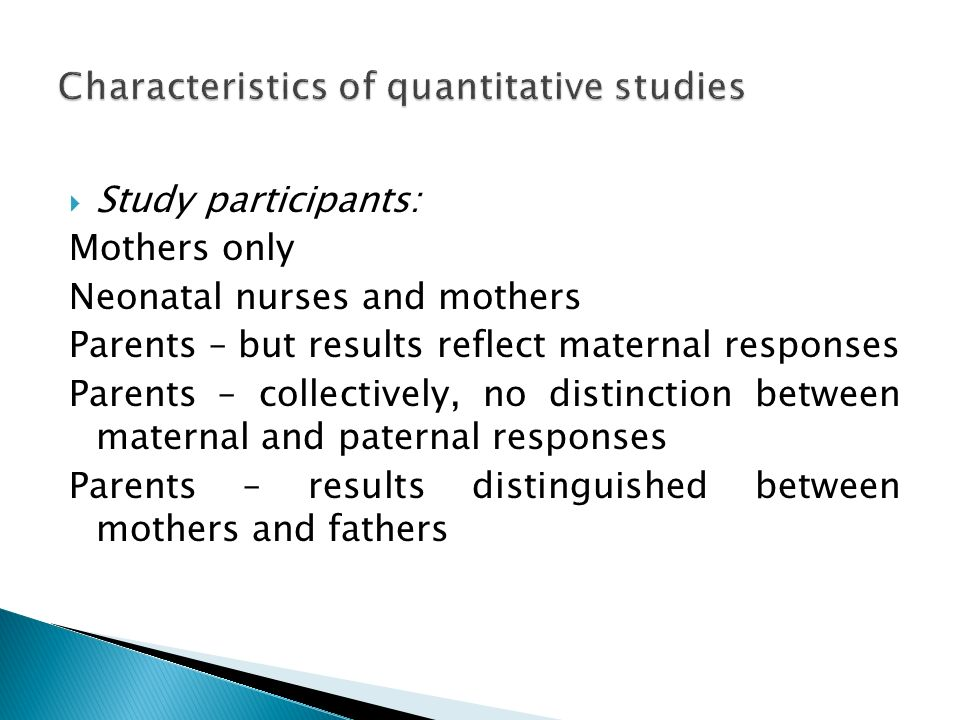 Characteristics of quantitative studies