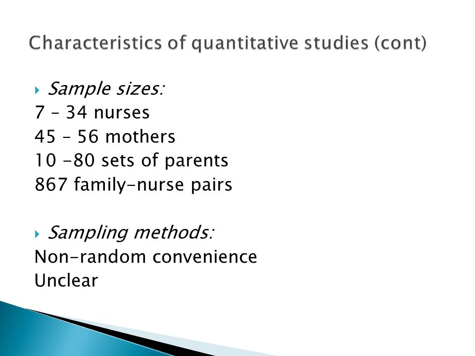 Characteristics of quantitative studies (cont)