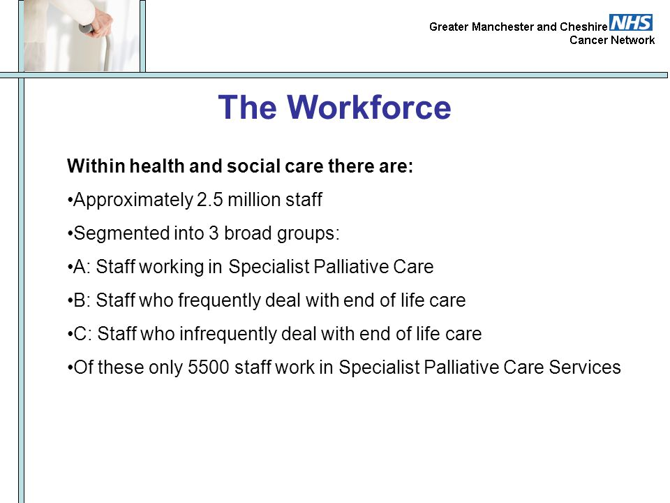 The Workforce Within health and social care there are: