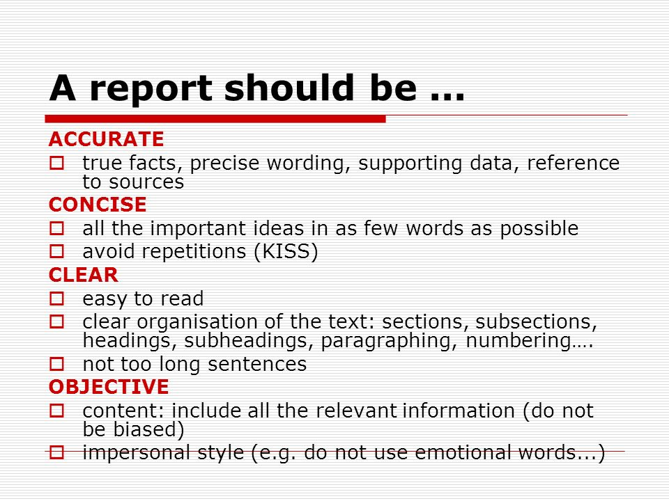 report writing words