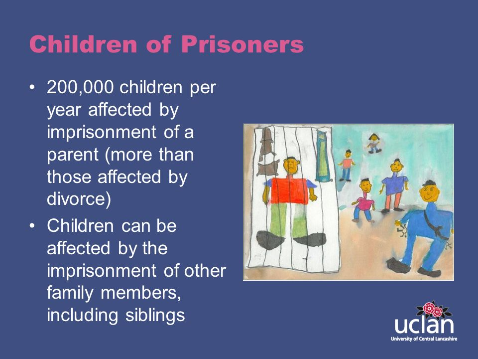 Children of Prisoners 200,000 children per year affected by imprisonment of a parent (more than those affected by divorce)