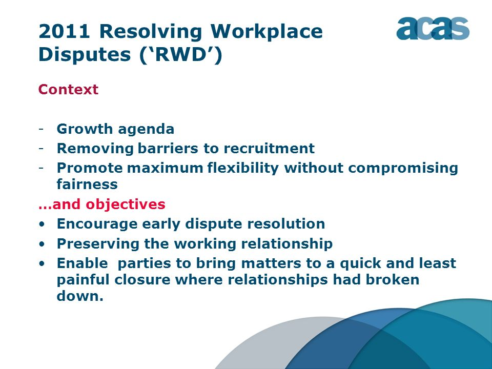 2011 Resolving Workplace Disputes ('RWD')