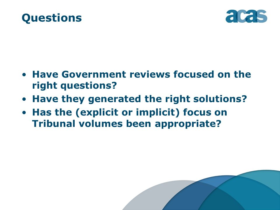 Questions Have Government reviews focused on the right questions