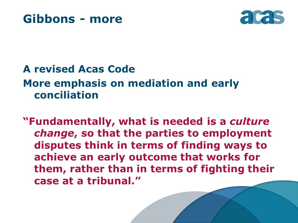 Gibbons - more A revised Acas Code