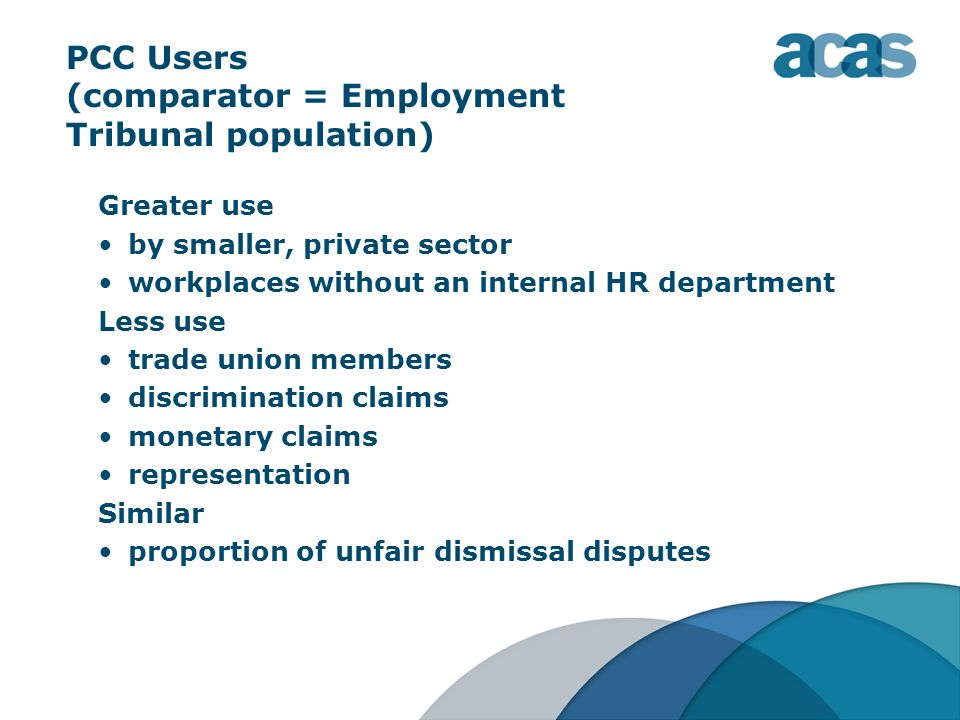 PCC Users (comparator = Employment Tribunal population)