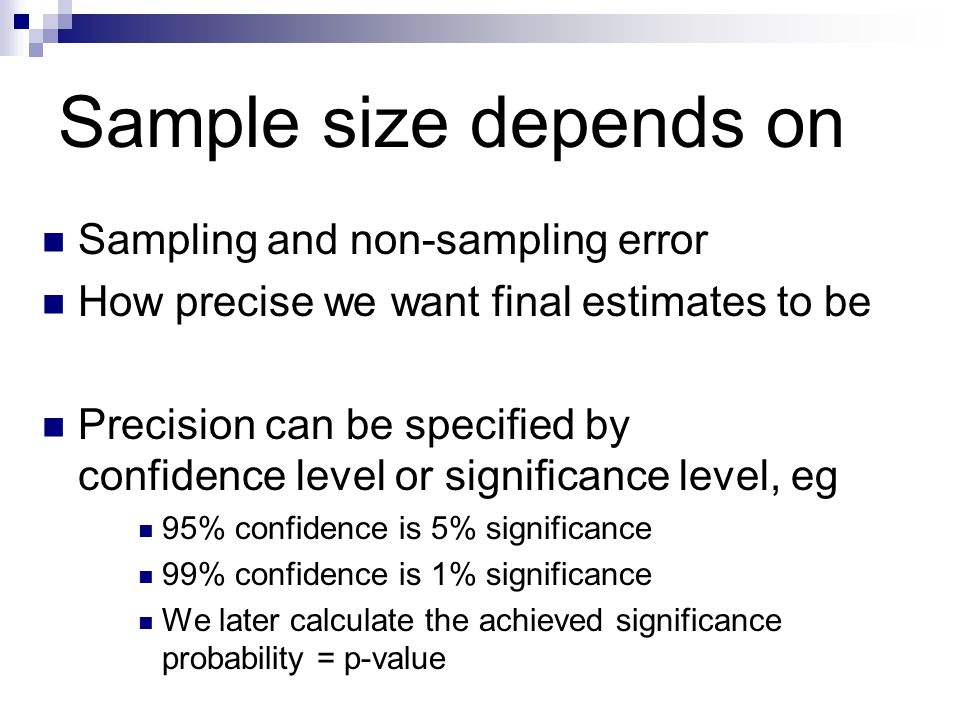 Sample size depends on Sampling and non-sampling error
