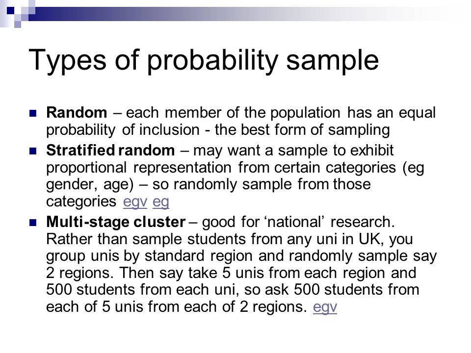 Types of probability sample