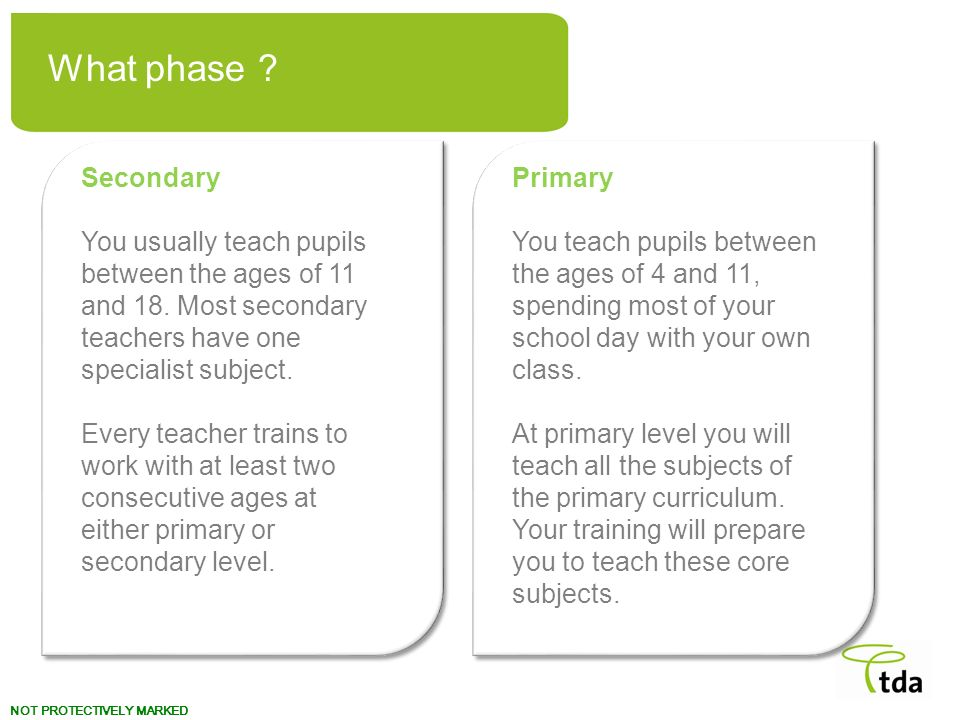 What phase Primary. You teach pupils between the ages of 4 and 11, spending most of your school day with your own class.