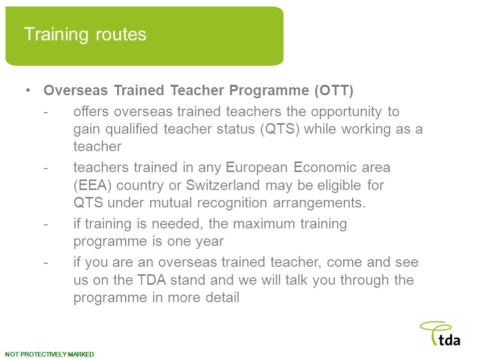 Training routes Overseas Trained Teacher Programme (OTT)