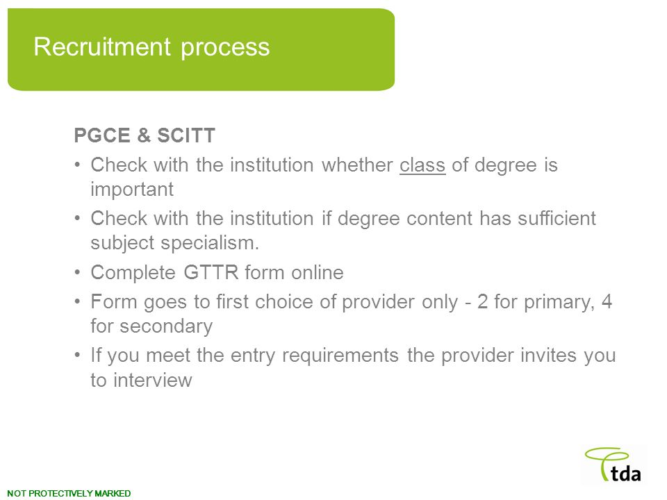 Recruitment process PGCE & SCITT