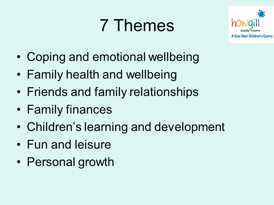 7 Themes Coping and emotional wellbeing Family health and wellbeing