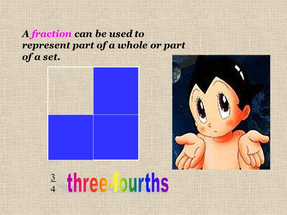 A fraction can be used to represent part of a whole or part of a set.