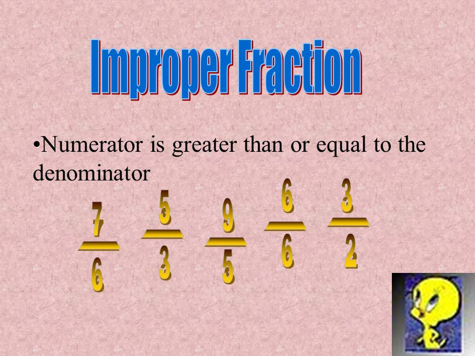 Improper Fraction Numerator is greater than or equal to the denominator. 6. 3. 5. 9. 7. - - -