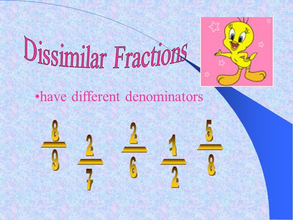 Dissimilar Fractions have different denominators 8 5 2 2 1 - - - 9 8 6 - - 2 7