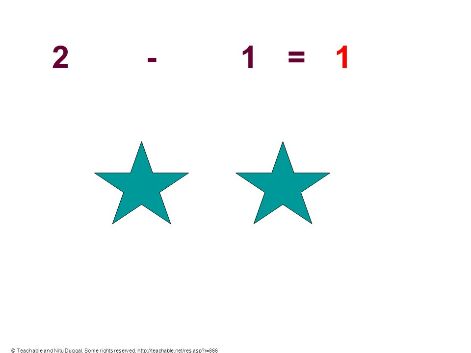 2 - 1 = 1 © Teachable and Nitu Duggal. Some rights reserved. http://teachable.net/res.asp r=866