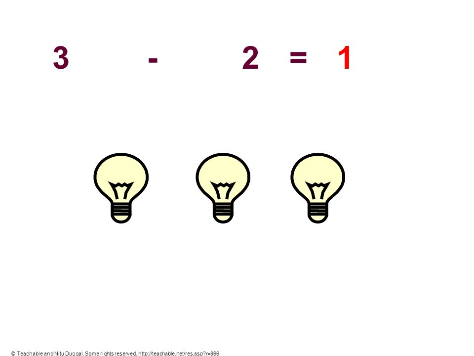 3 - 2 = 1 © Teachable and Nitu Duggal. Some rights reserved. http://teachable.net/res.asp r=866