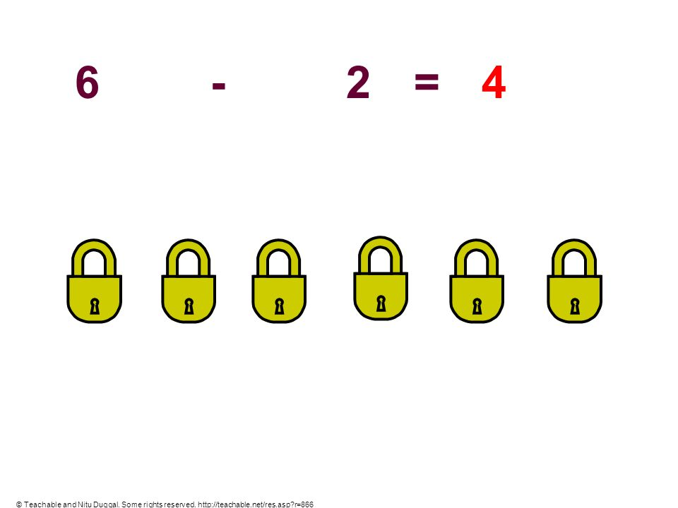 6 - 2 = 4 © Teachable and Nitu Duggal. Some rights reserved. http://teachable.net/res.asp r=866