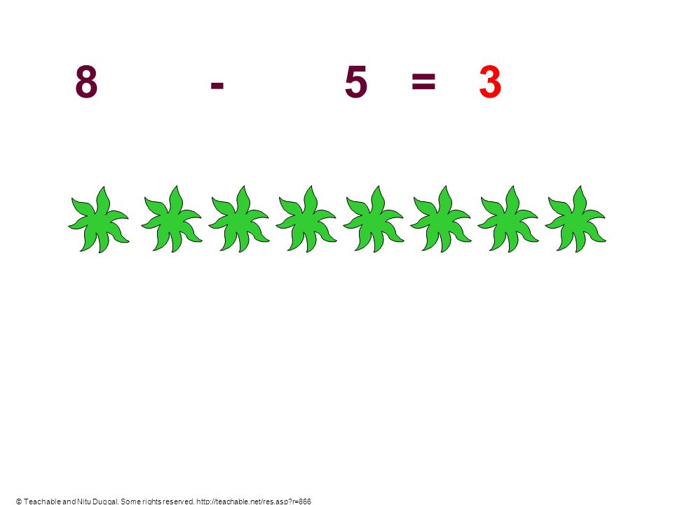 8 - 5 = 3 © Teachable and Nitu Duggal. Some rights reserved. http://teachable.net/res.asp r=866