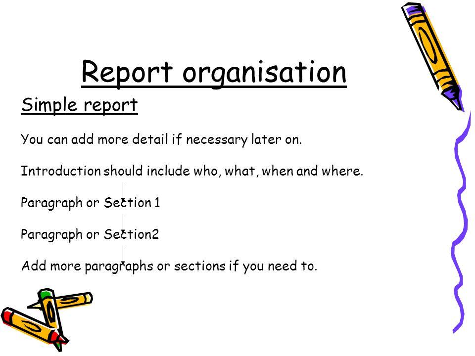 Report organisation Simple report