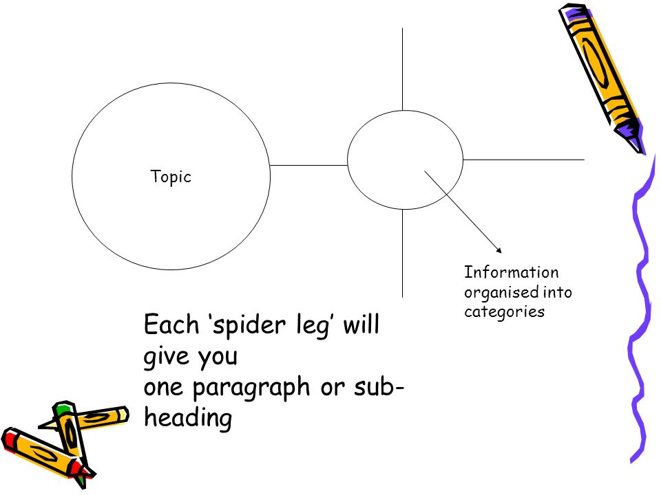 Each 'spider leg' will give you one paragraph or sub-heading