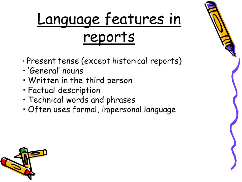 Language features in reports