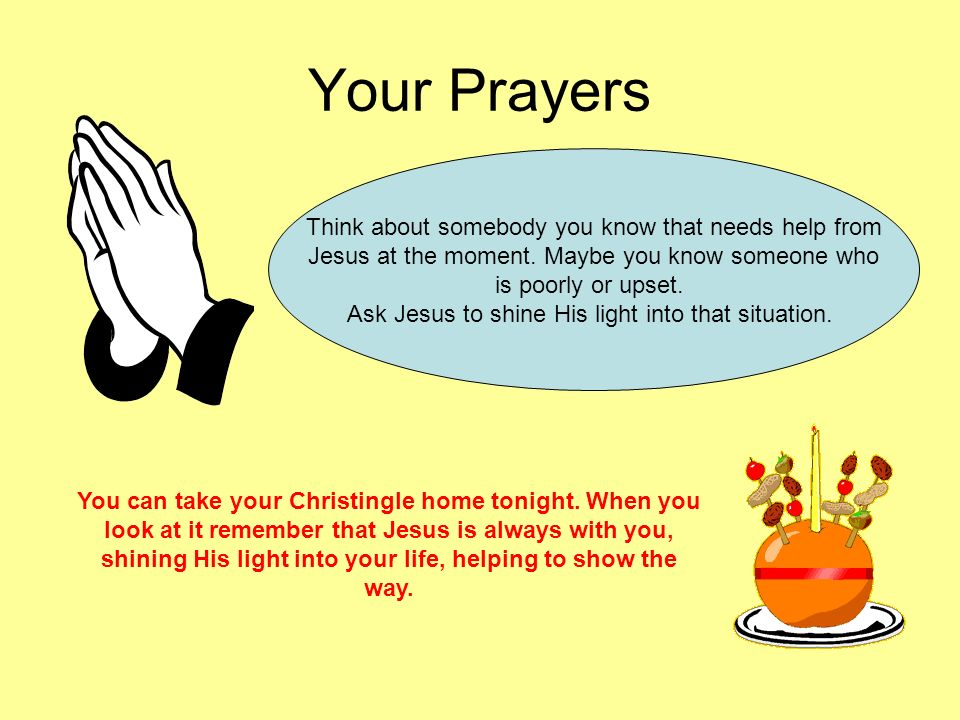 Your Prayers Think about somebody you know that needs help from
