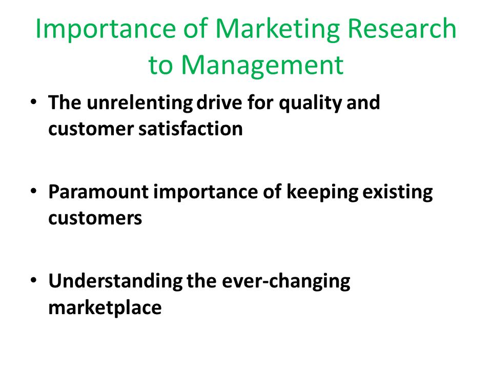 the role and importance of marketing research The importance of marketing research practice and its potential contribution to marketing decision-making have increased dramatically with the advent of new data collection methods and research technologies.