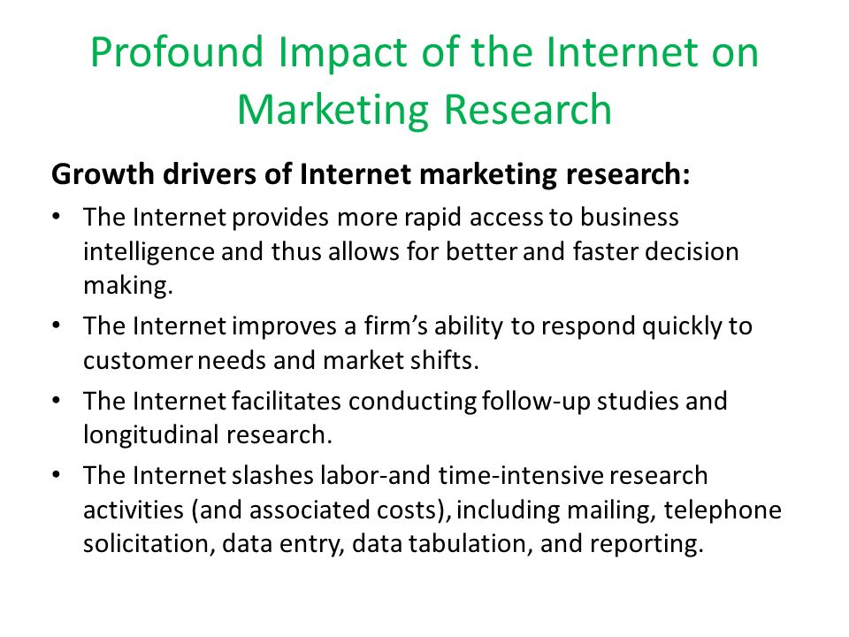 impact of internet on marketing research Impact of the internet on marketing strategy formulation pricing research another impact of the internet on pricing practices is that it offers marketers.