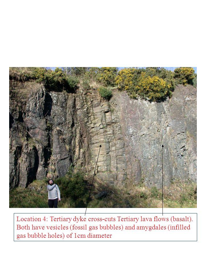 Location 4: Tertiary dyke cross-cuts Tertiary lava flows (basalt)