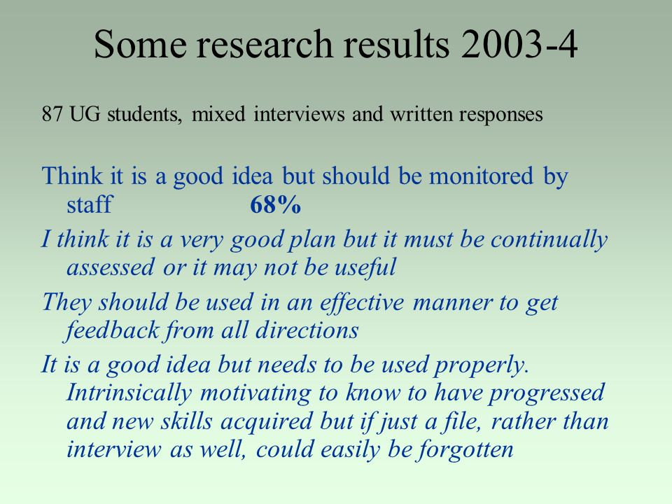 Some research results 2003-4