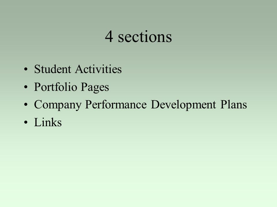 4 sections Student Activities Portfolio Pages