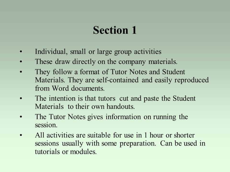 Section 1 Individual, small or large group activities
