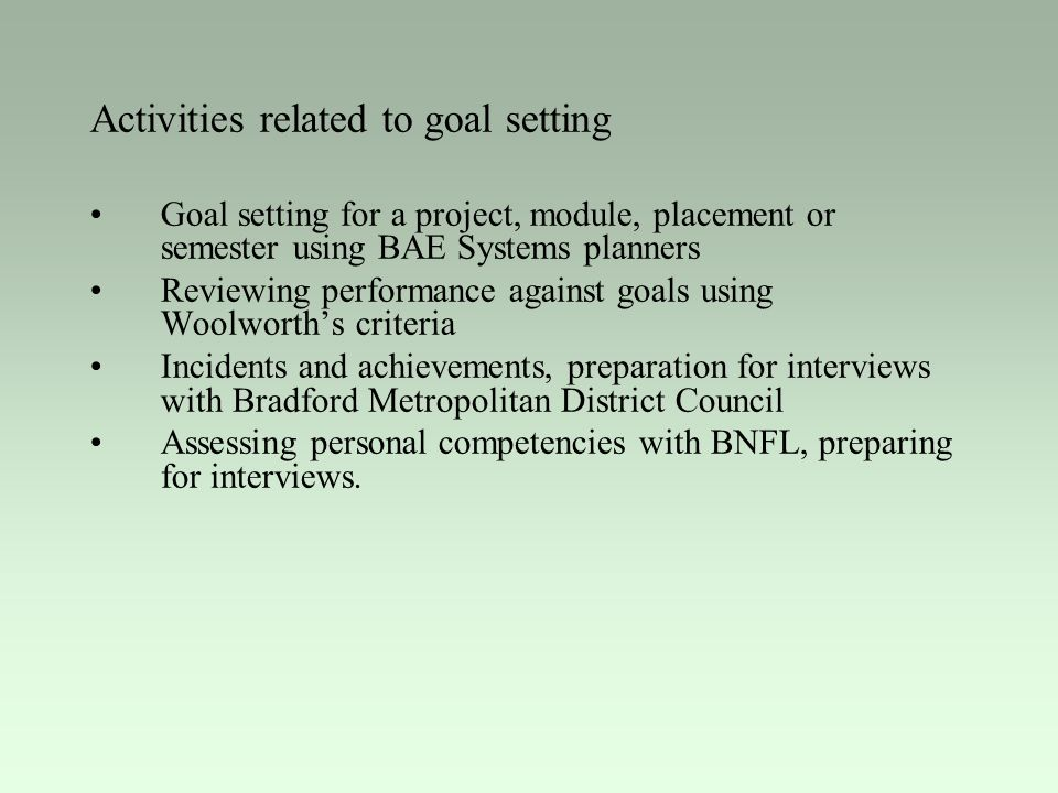 Activities related to goal setting