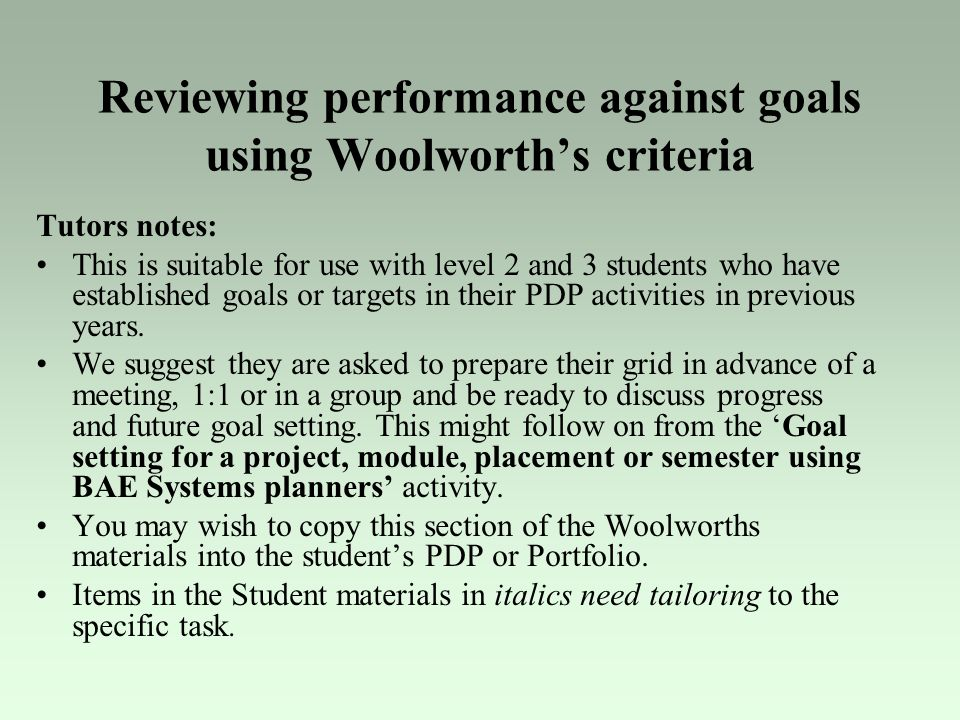 Reviewing performance against goals using Woolworth's criteria