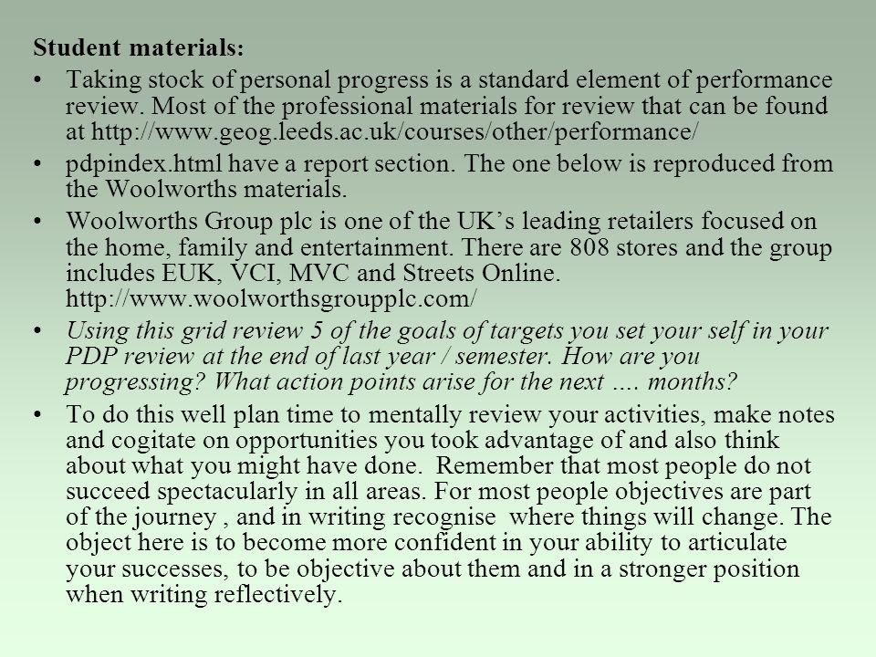 Student materials: