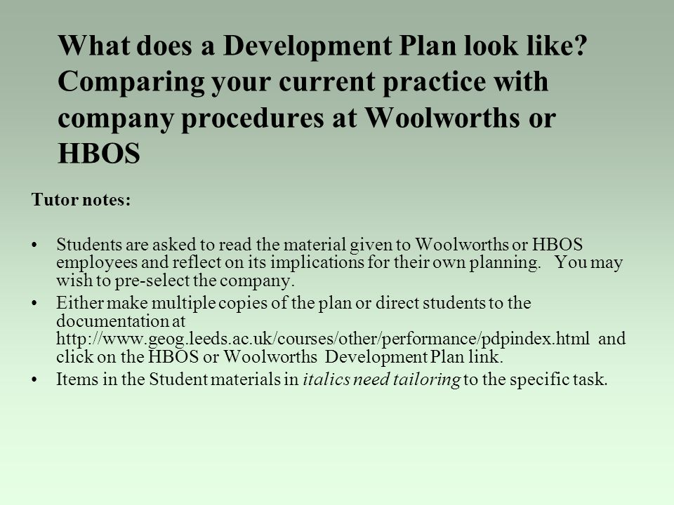 What does a Development Plan look like