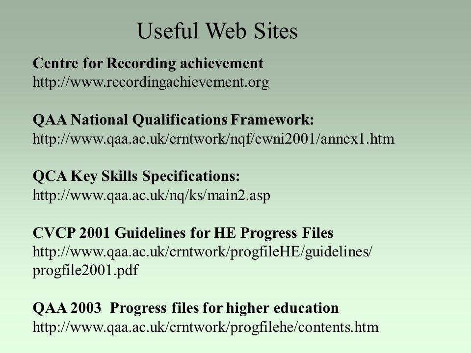 Useful Web Sites Centre for Recording achievement