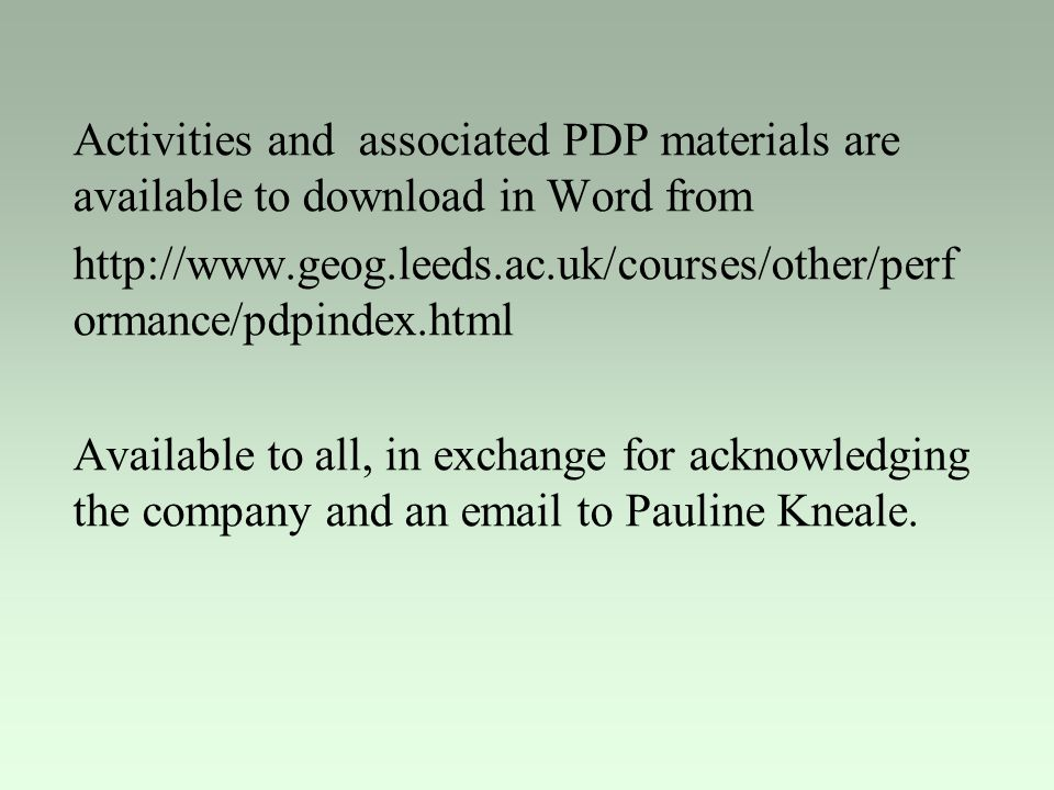 Activities and associated PDP materials are available to download in Word from