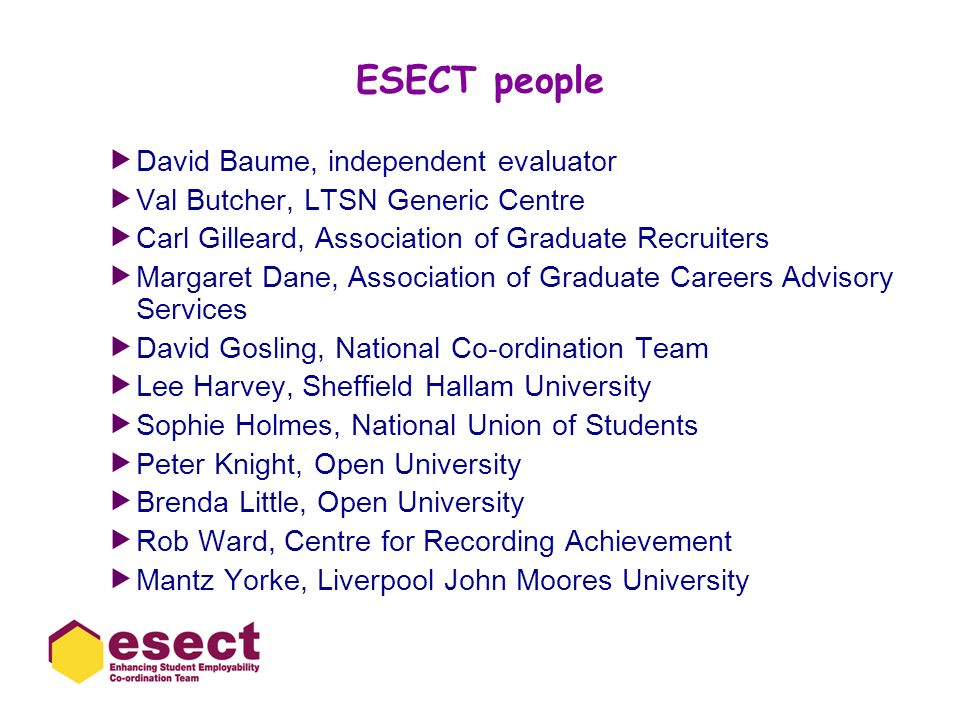 ESECT people David Baume, independent evaluator