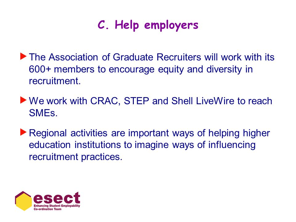 C. Help employers The Association of Graduate Recruiters will work with its 600+ members to encourage equity and diversity in recruitment.
