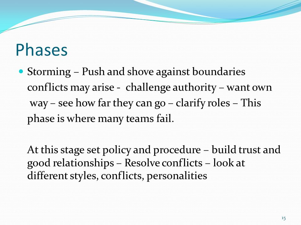 Phases Storming – Push and shove against boundaries