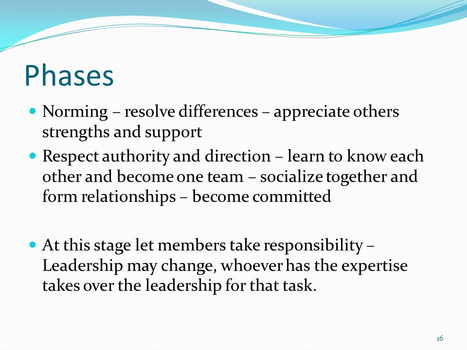 Phases Norming – resolve differences – appreciate others strengths and support.
