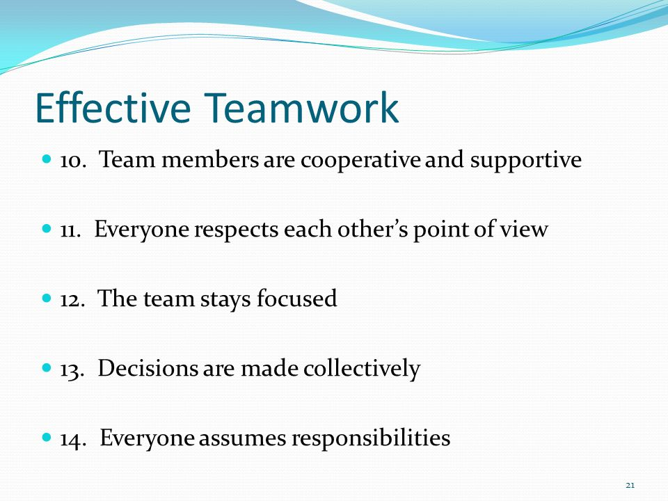 Effective Teamwork 10. Team members are cooperative and supportive