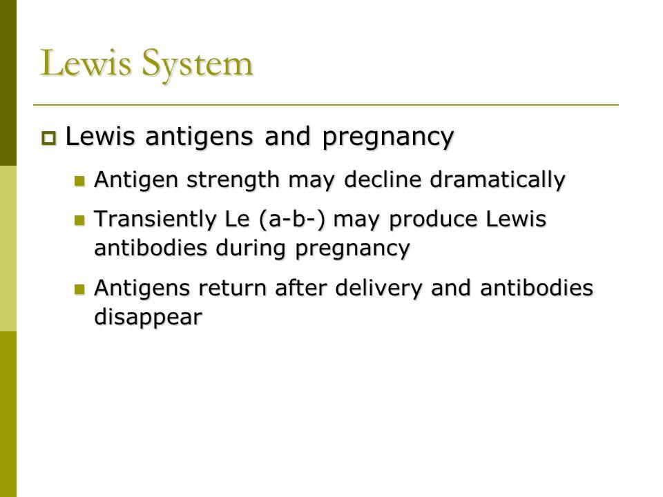 Lewis System Lewis antigens and pregnancy