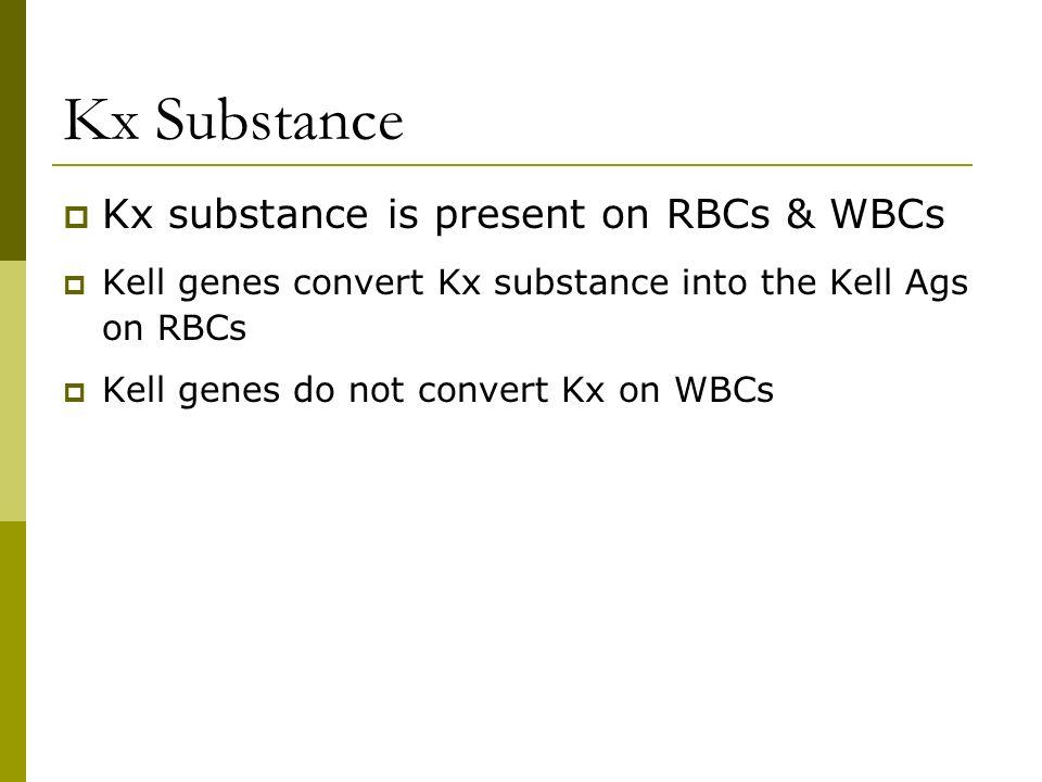 Kx Substance Kx substance is present on RBCs & WBCs