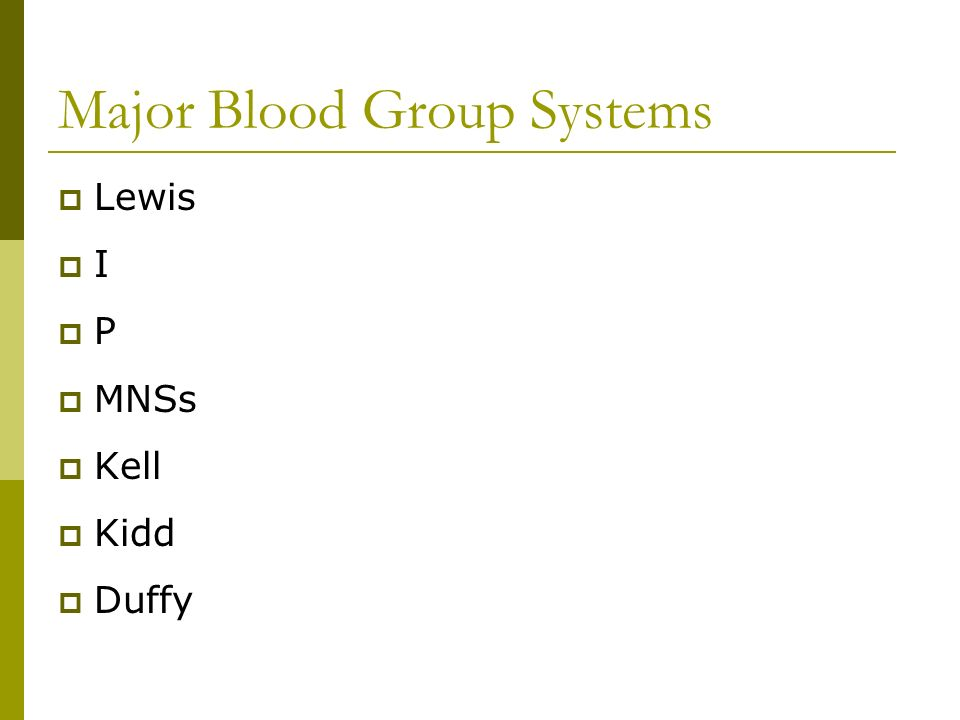 Major Blood Group Systems